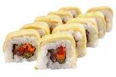 Japanese sushi rolls on white background — Stockfoto