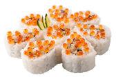 Japanese sushi rolls on white background — Stock Photo