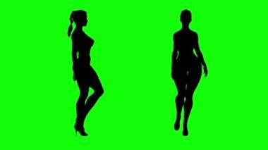 Fashion model girl silhouette sexy figure high heel walking — Stock Video