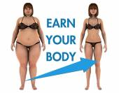 Women Weight Loss Earn Your Body — Stock Photo