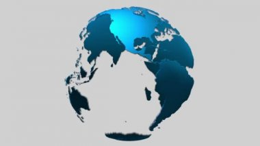 Loopable rotating transparent blue 3d surface earth planet globe with alpha mask included — Stock Video