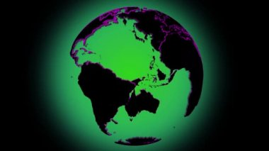 Loopable rotating earth planet globe with with red lined boarder, green background — Stock Video