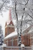 Snow and Church — Zdjęcie stockowe