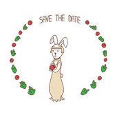 Wedding invitation card template with rabbit bride — Stock Vector