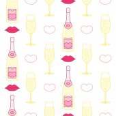 St. Valentine day champagne seamless pattern — Stock Vector