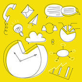 Hand Drawn business doodle icon set on yellow background. — 图库矢量图片