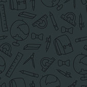 Doodle seamless pattern with school object — Vetor de Stock