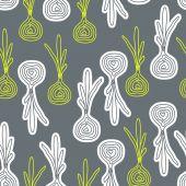 Cute decorative doodle onions seamless pattern. — Wektor stockowy