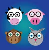 Nerd animals vectors pack — Stockvektor