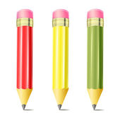 Colorful pencils with eraser. — Stock Vector