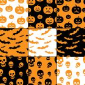Seamless Halloween patterns — Stok Vektör