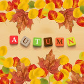 Autumn background with leaves and colorful letters. — Stock Vector