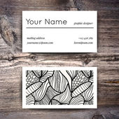 Business card template with  white and black pattern — Stok Vektör