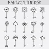 Vintage outline keys set. — Stockvektor
