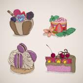 торты и десерты — Cтоковый вектор