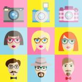 Hipster icons set in minimalistic style — Stock Vector