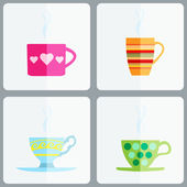 Set of coffee or tea cups. — Stock Vector