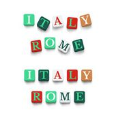 Words italy, rome — Stock Vector