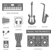Musical modern instruments — Stock Vector