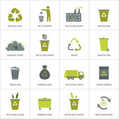 Recycling garbage icons set. — Stock Vector