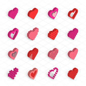 Red valentine hearts icons — Stock Vector