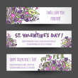 Valentines day doodle banners. — Stock Vector #64618201