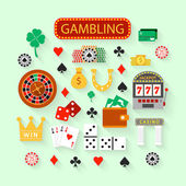 Gambling flat icons set — Stock Vector