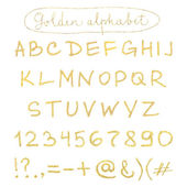 Handwritten gold alphabet — Stock Vector