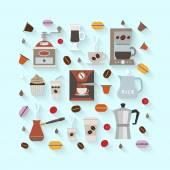 Flat coffee icons — Stock Vector