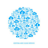 Hosting and cloud service — Stock Vector