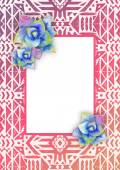 Mexican background with watercolor succulents and frame — Stock Vector