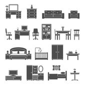 Furniture interior flat icons — Stock Vector