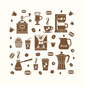 Coffee icons set in minimalistic style — Stock Vector
