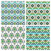Ethnic aztec mexican seamless patterns — Stock Vector