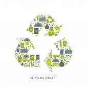 Recycling garbage icons concept — Stock Vector