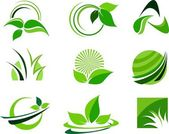 Green Leafs Design Elements — Stock Vector