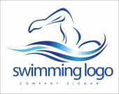 Swimming Logo Design — Stockvektor