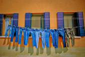 Jeans Drying on a Clothesline — Stock Photo