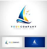 Segelboot-logo — Stockvektor
