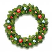 Detailed Christmas Wreath — Vetor de Stock