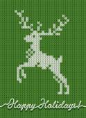 Holidays knitted card or background with a deer — Stock Vector