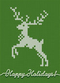 Holidays knitted card or background with a deer — Wektor stockowy