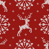 Christmas knitted seamless pattern with a deer and snowflake — Stock Vector
