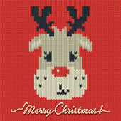 Christmas knitted card or background with a deer — Stock Vector