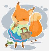 Cartoon squirrel gnaws nut — Stock Vector