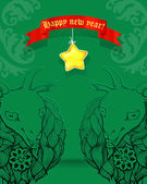 Christmas card.2015 Chinese New Year of the Goat — Wektor stockowy