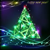 Christmas tree.Vector greeting card — Stock Vector