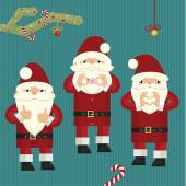 Three figures of Santa Clauses — Stock Vector