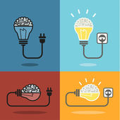 Brain and bulb light — Stock Vector