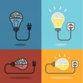 Cerebro y bombilla de luz — Vector de stock